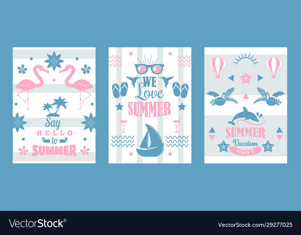 Summer vacation set typographic banners