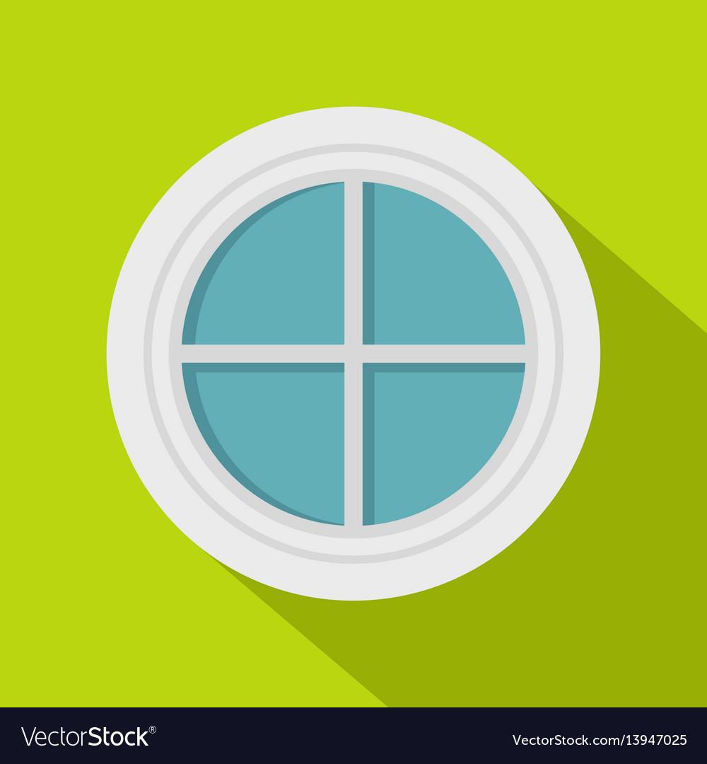 White round window icon flat style vector image