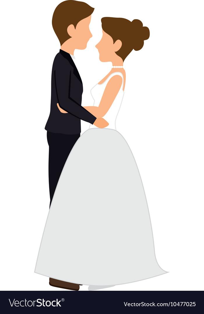 Woman And Man Couple Wedding Cartoon Royalty Free Vector