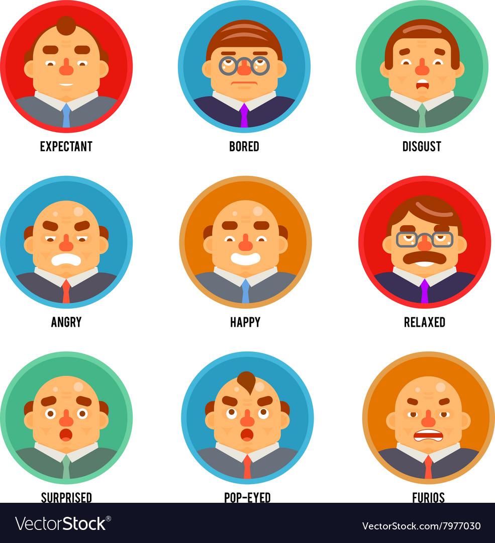 Adult Avatar Emotions Happy Surprised Mustache