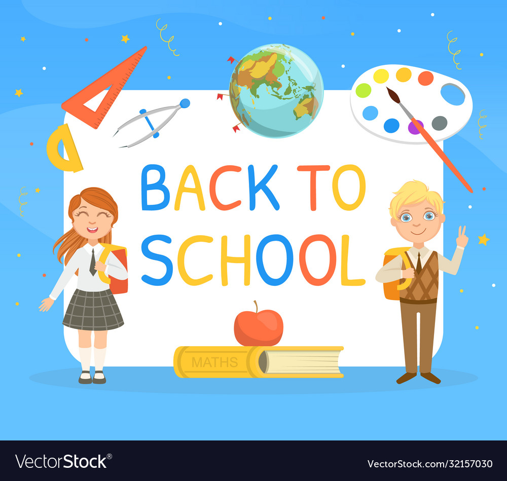 Back to school banner template with cute