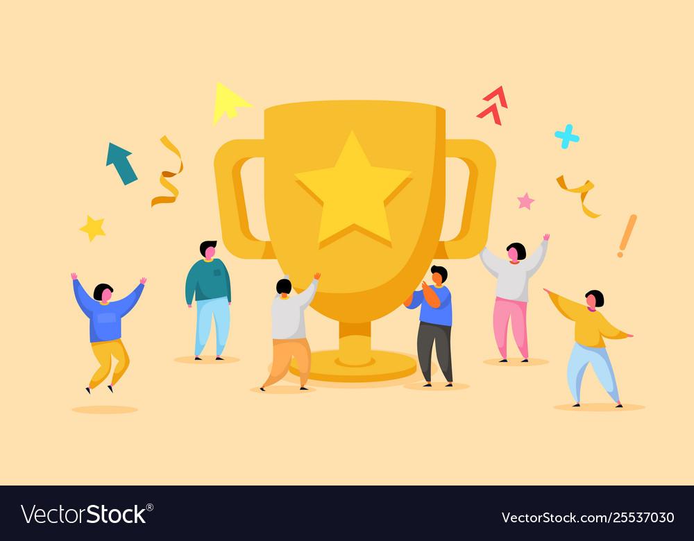 Business team success achievement concept flat