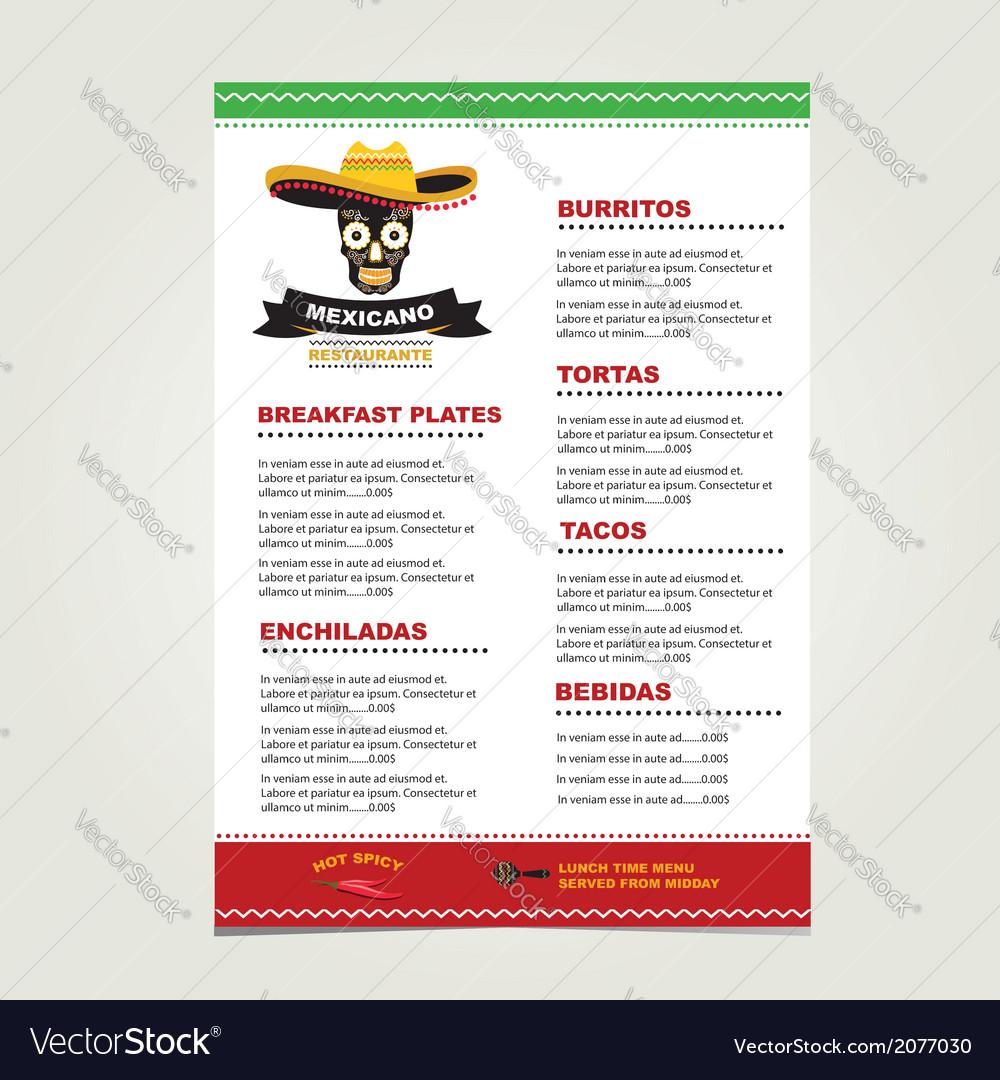 Cafe menu mexican template design