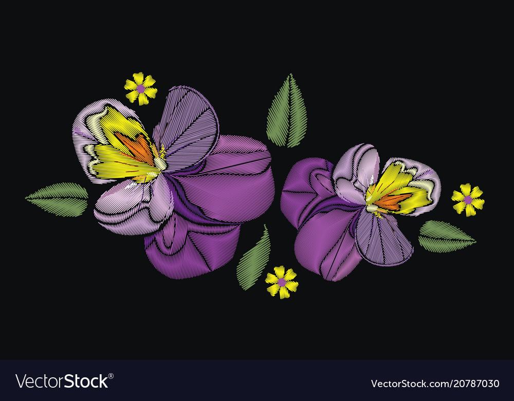 Flowers isolated on black background