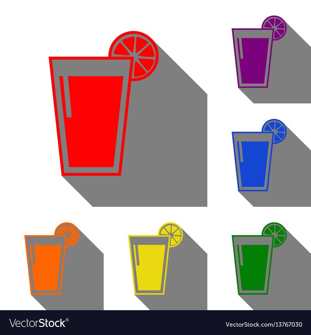 Glass of juice icons set of red orange yellow