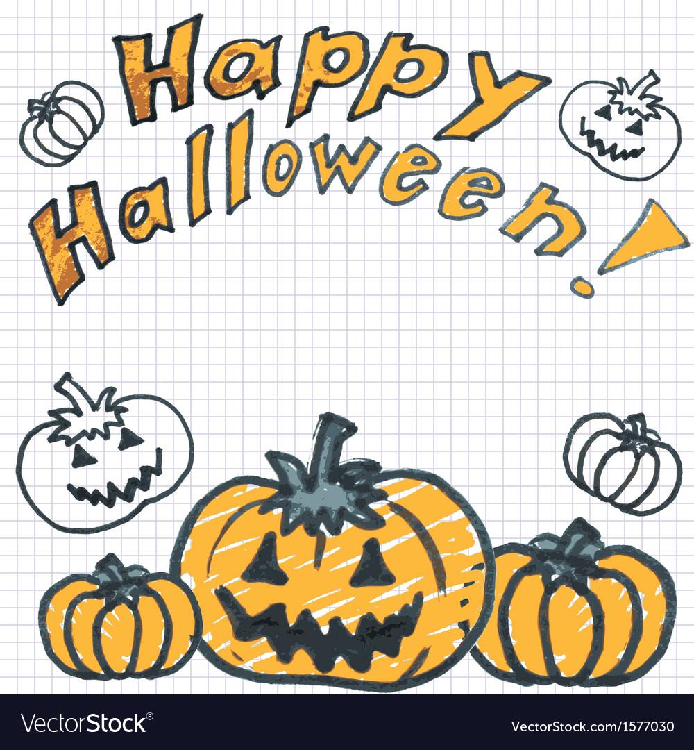 Halloween background with doodle pumpkin