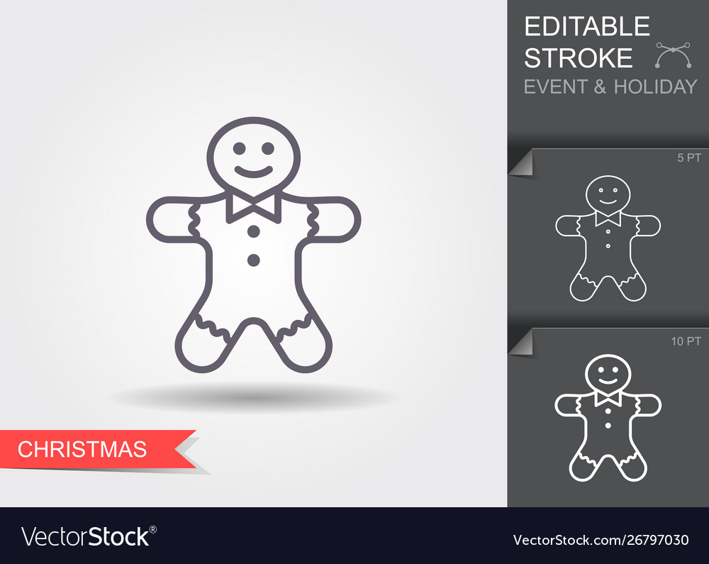 Holiday gingerbread man cookie line icon