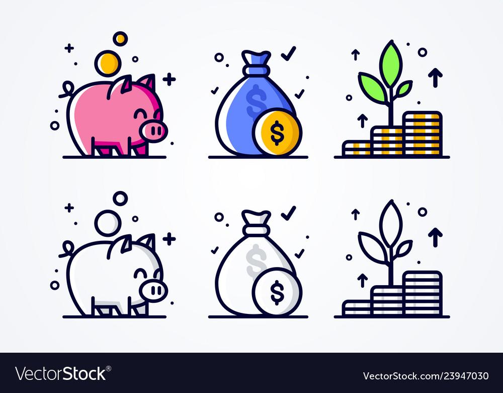 Icon set money grow investment and economizing