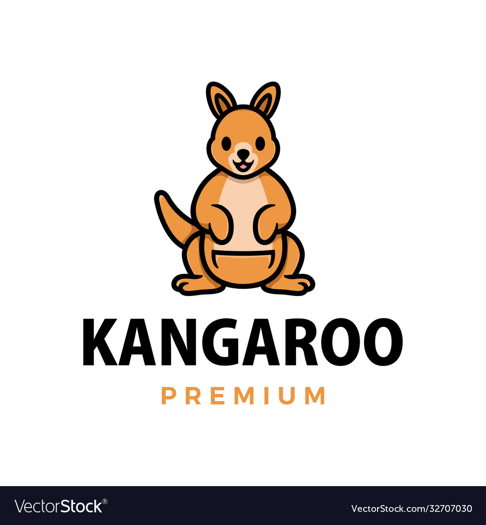 Kangaroo thumb up mascot character logo icon