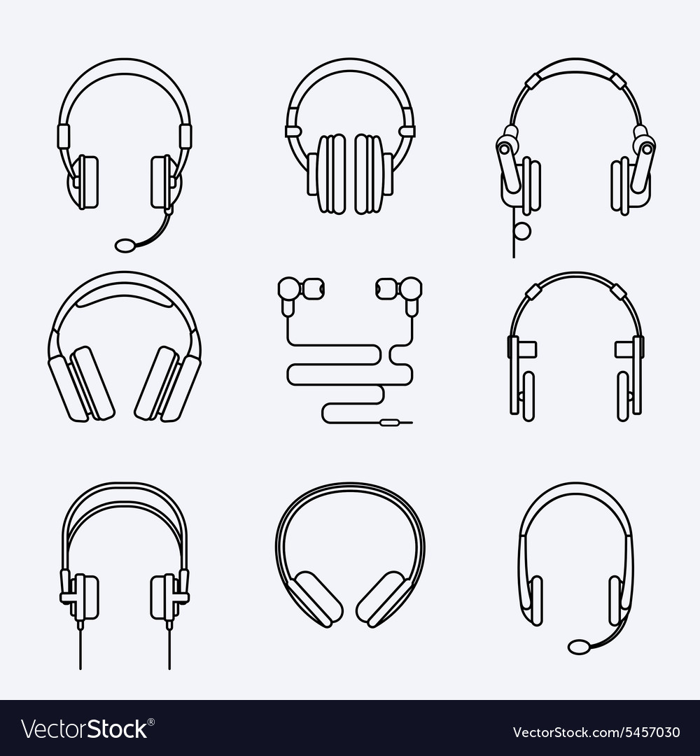 Line headphones icon set