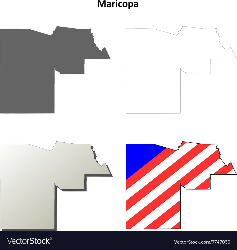 Maricopa County Arizona outline map set