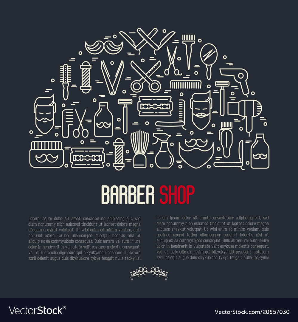 monochrome barber shop concept vector image