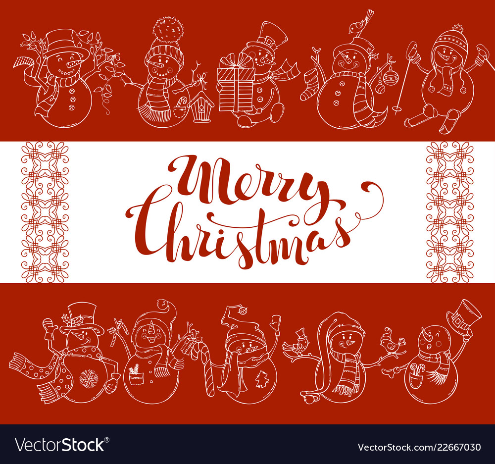 Red Merry Christmas Background With Cute Snowmen