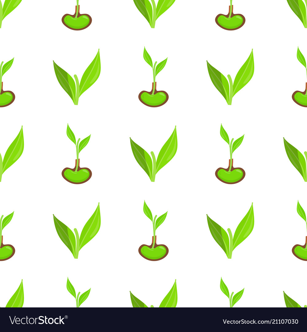 Seamless pattern with green leaves and sprout