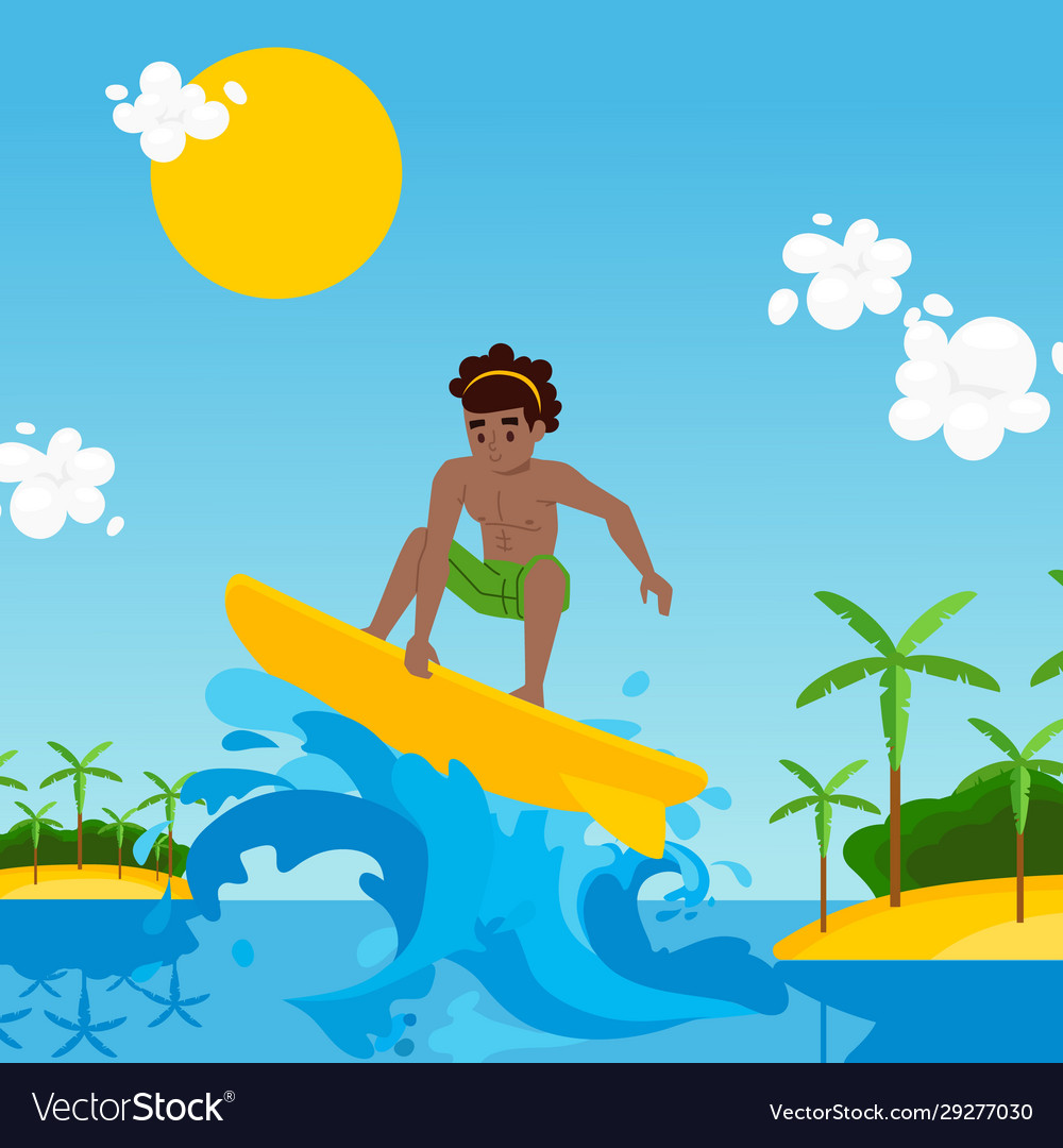 Surfer cartoon character riding wave
