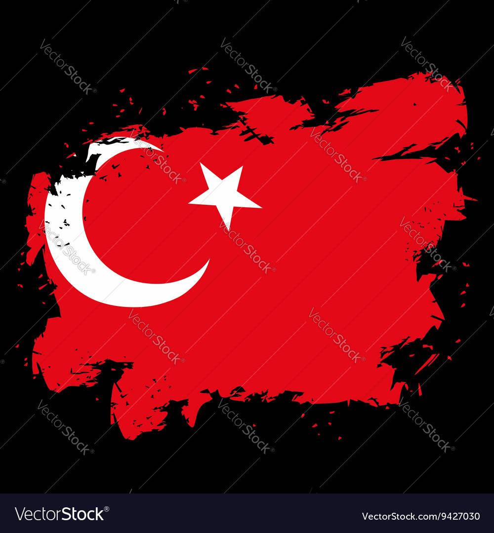 Turkey flag grunge style on black background Brush
