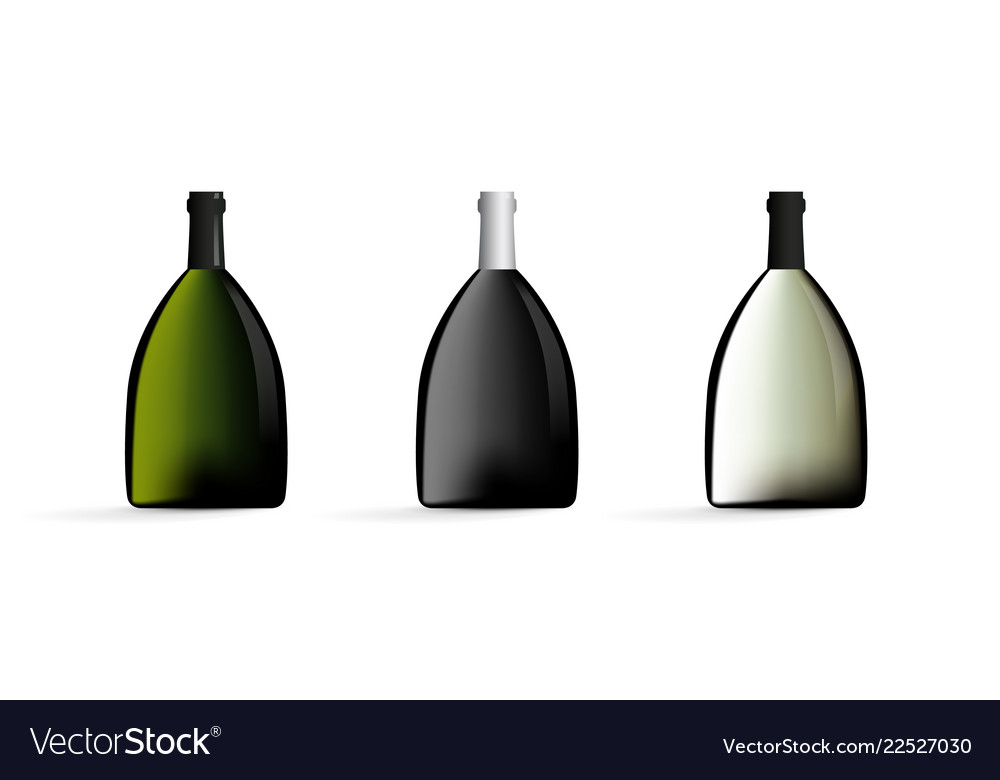 Wine bottles in black green white color set