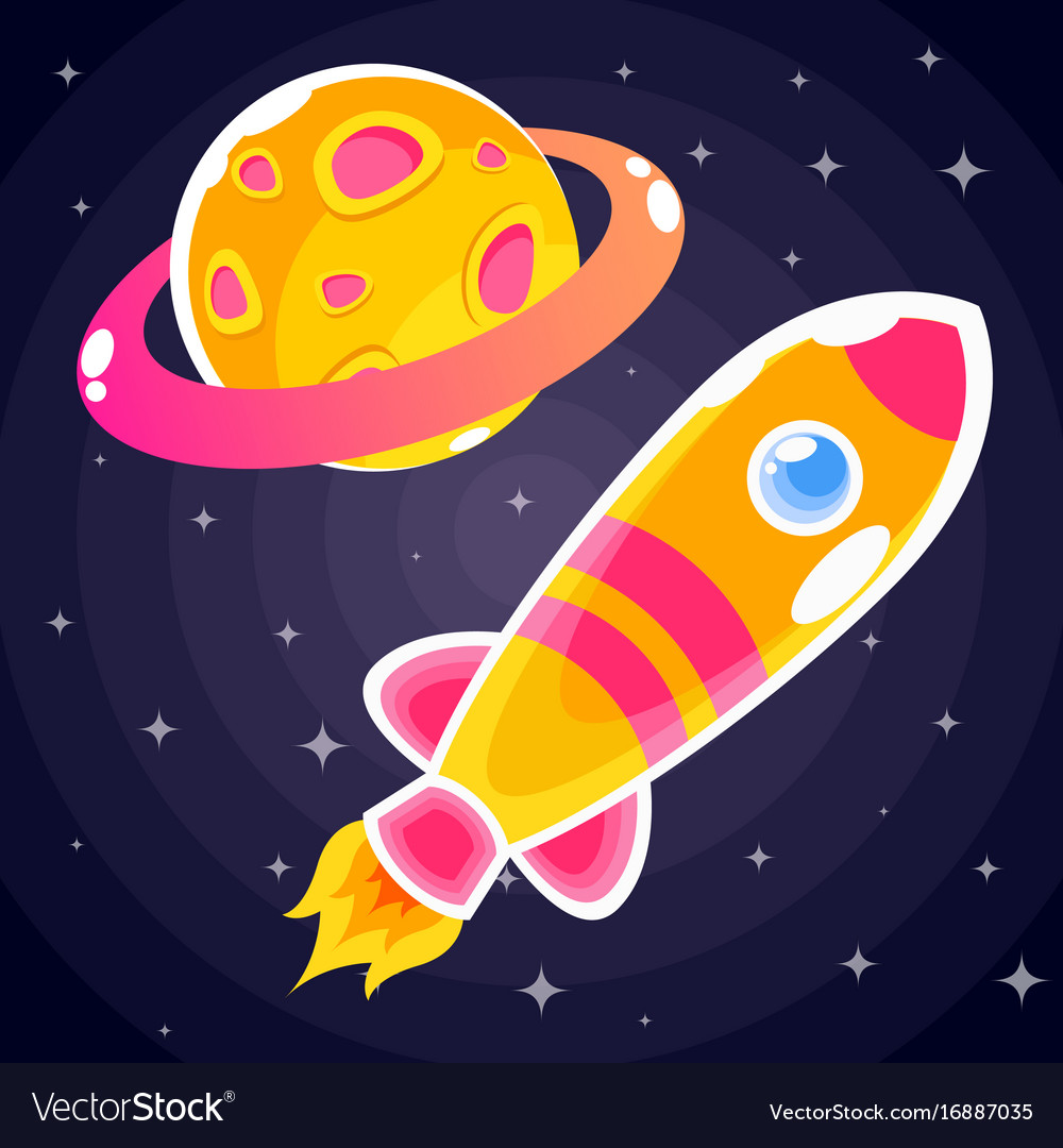 An orange rocket sticker with pink stripes and