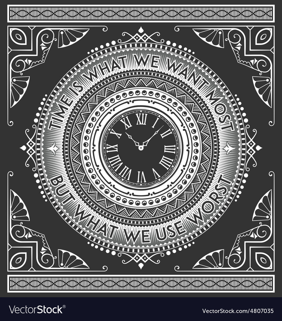 Art Deco Vintage Clock With Quotes Royalty Free Vector Image