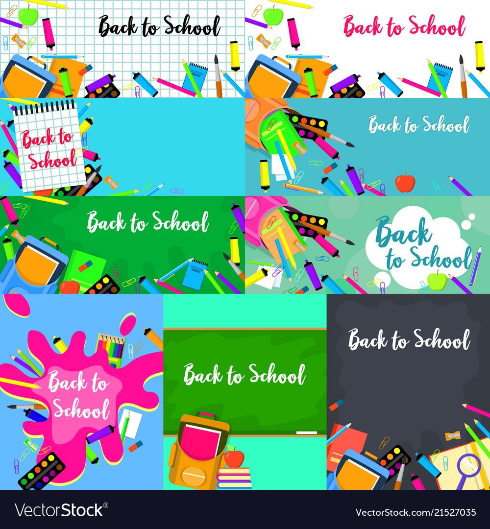 Back to school desk banner concept set flat style