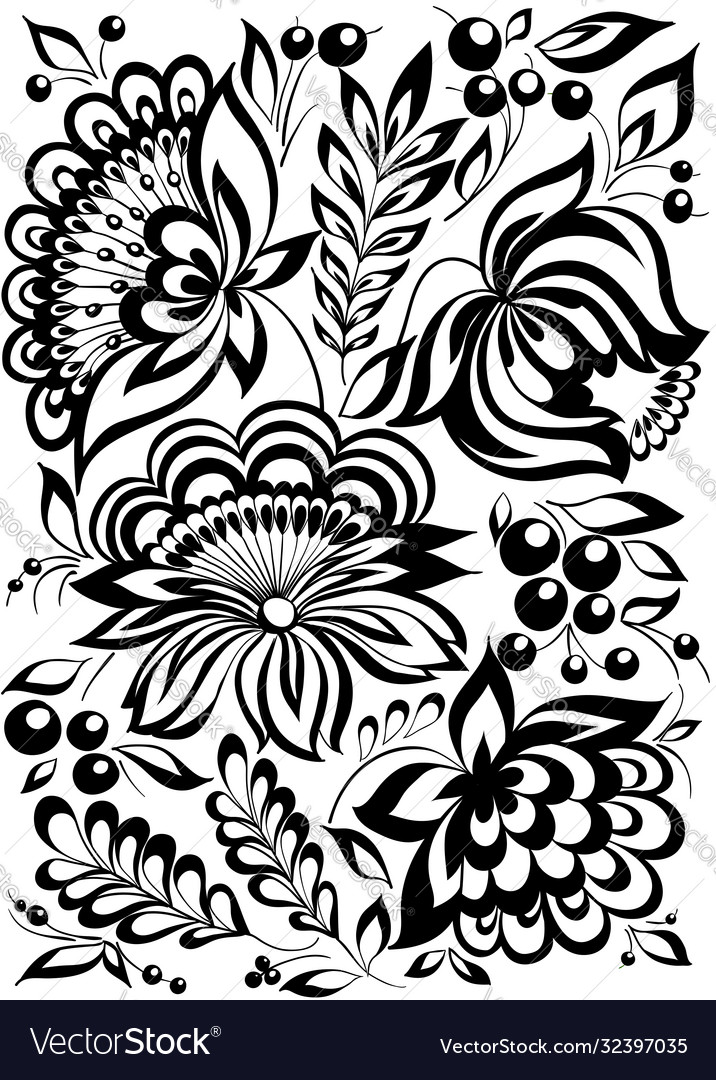 Beautiful monochrome black and white flowers and