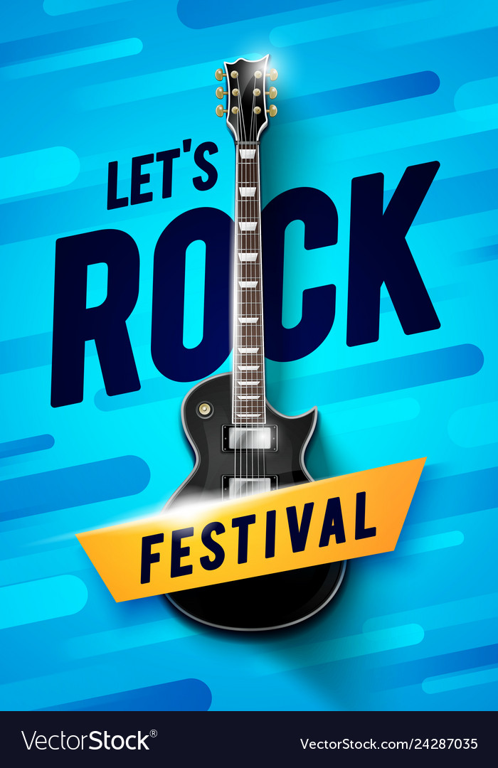 Blue rock festival concert poster with guitar