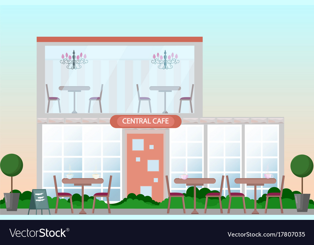 Central cafe building facade flat style vector image