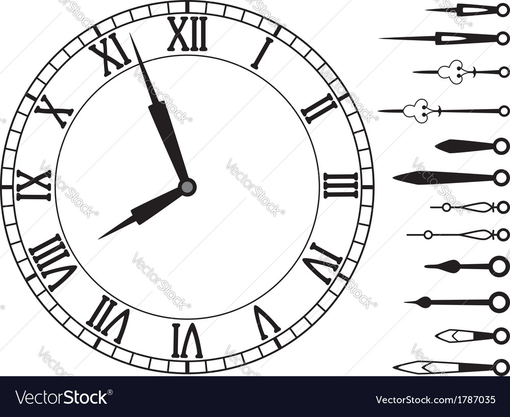 Clock dial with roman numbers