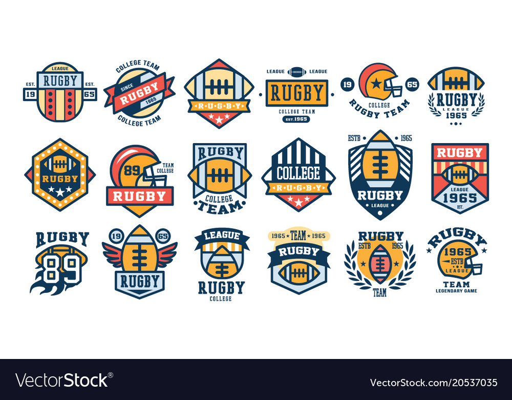 College rugby team logo design set sport retro
