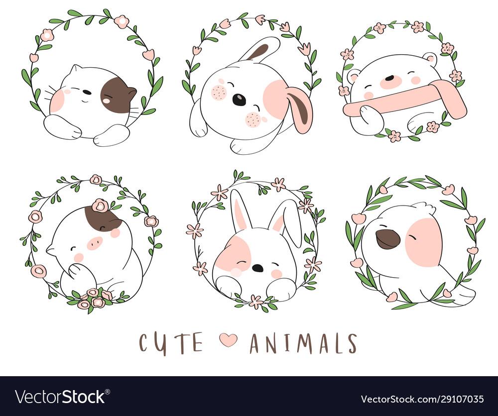 Cute baby animal with flower border cartoon