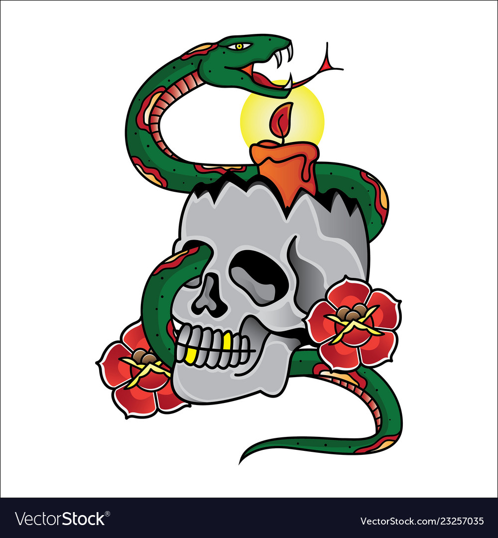 Design candle and snake tattoo