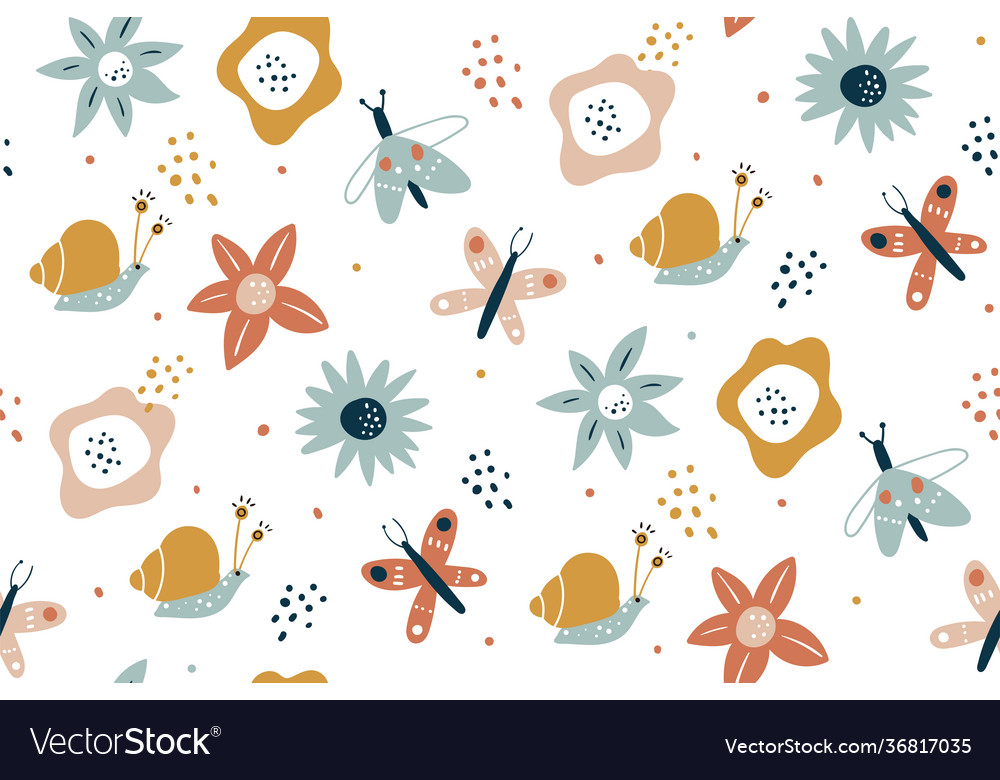 Floral seamless pattern with butterflies hand