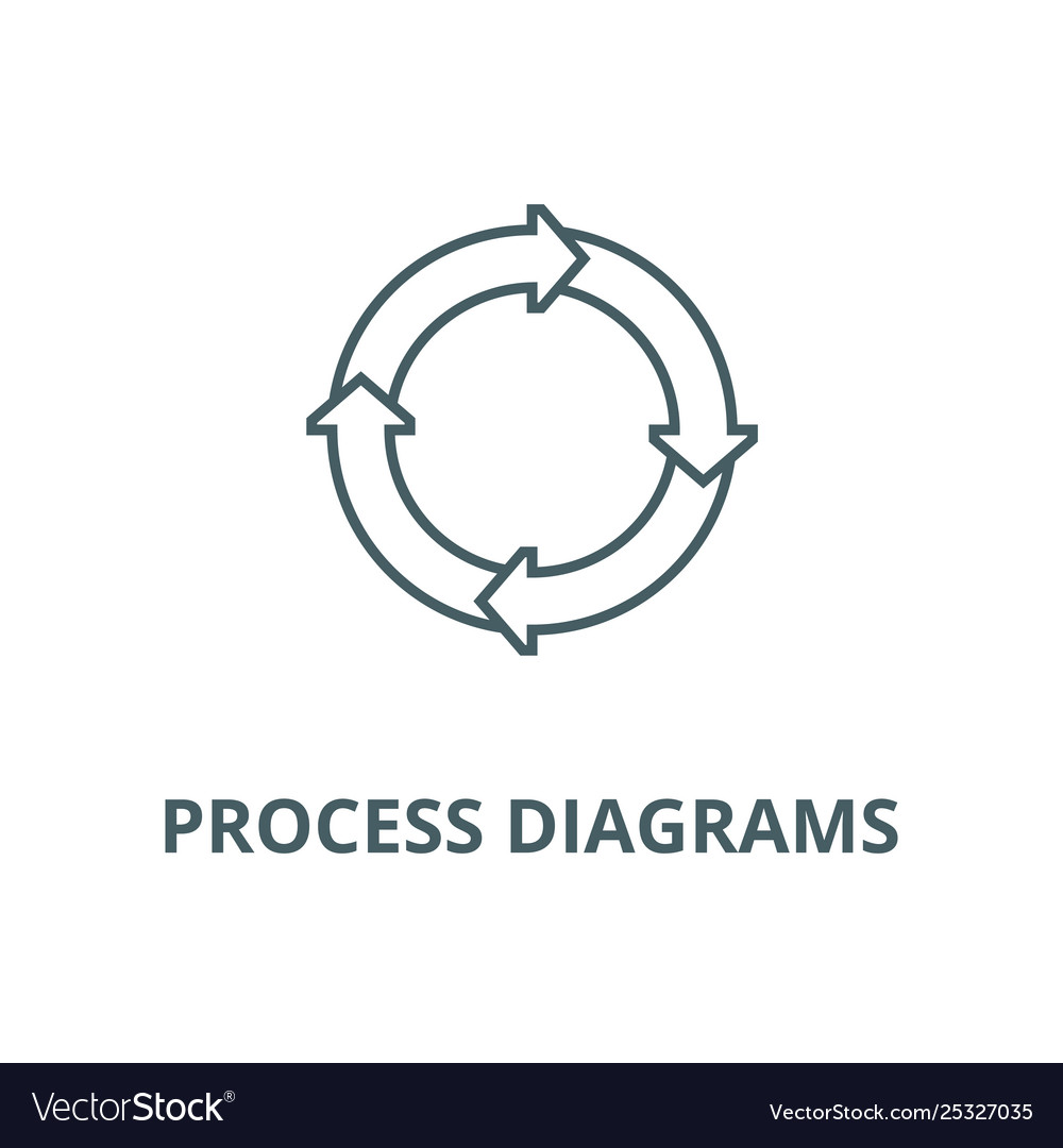 Process diagrams line icon linear concept