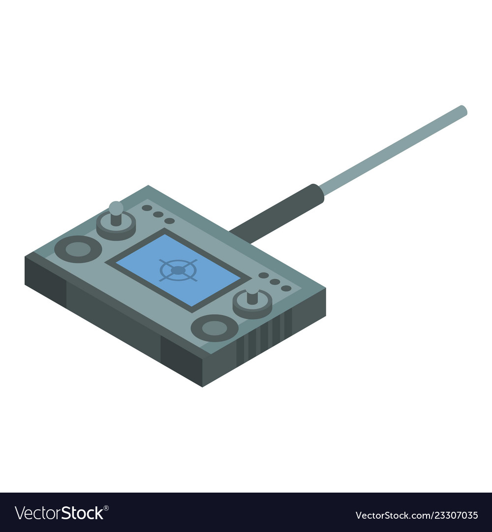 Radio drone remote control icon isometric style
