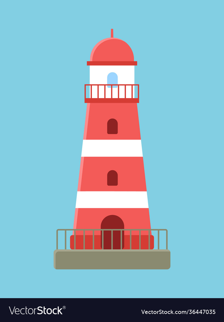 Red lighthouse ocean landscape searchlight tower