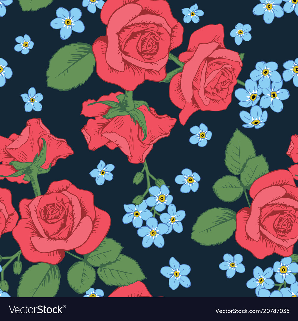 Red Roses And Myosotis Flowers On Dark Blue Vector Image