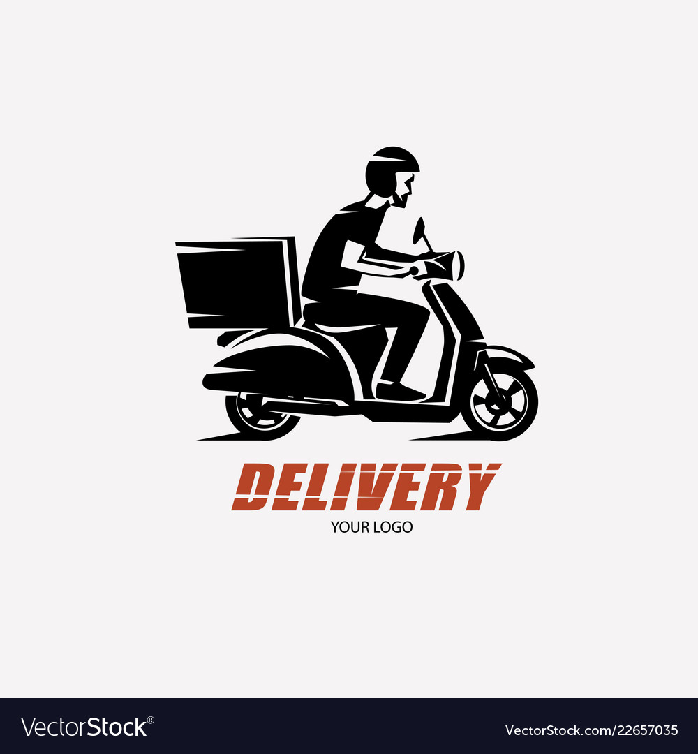 Scooter delivery silhouette logo template