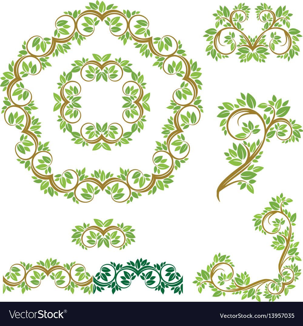 Set of floral seamless detailed ornaments borders