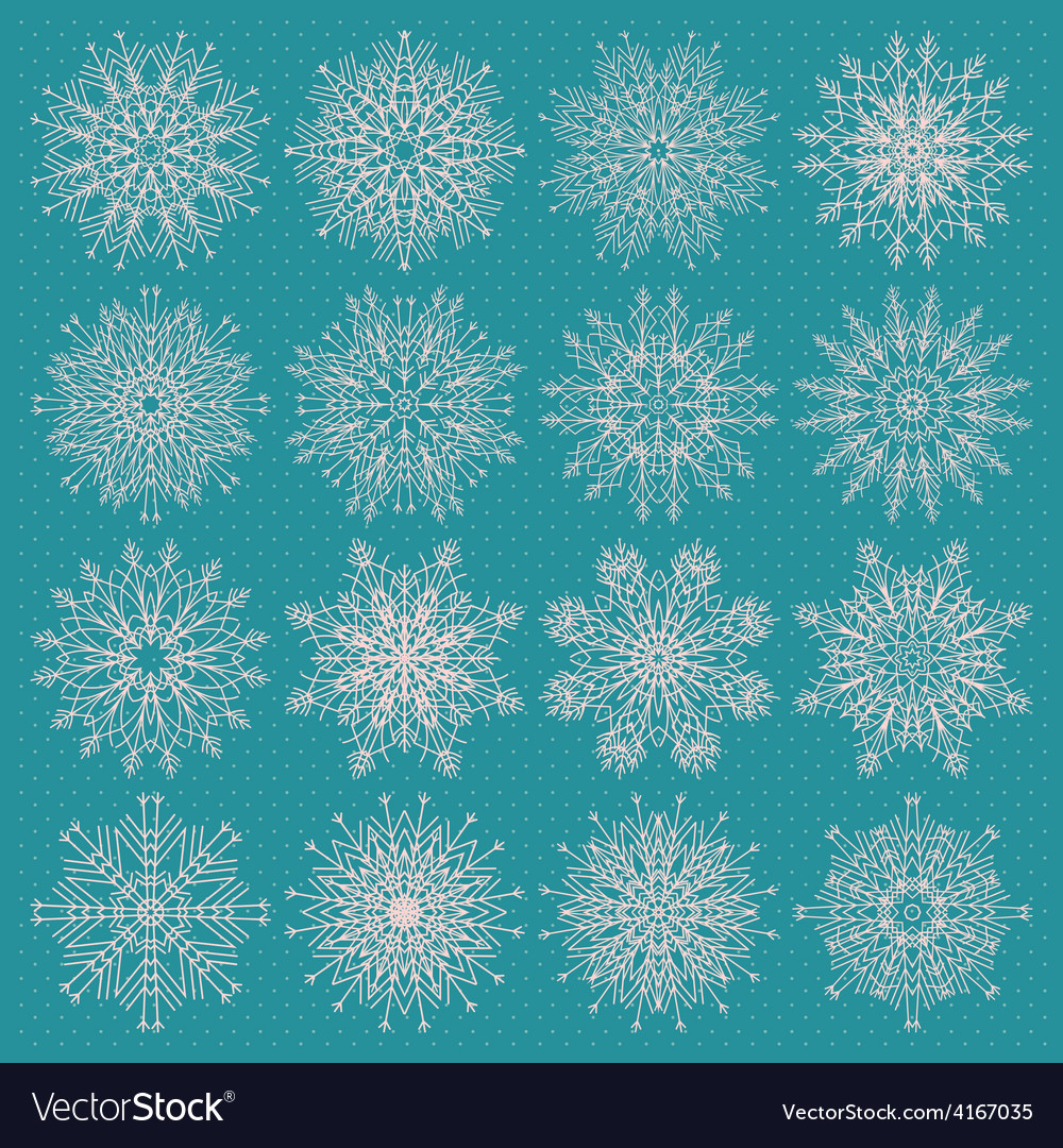 Set of sixteen different snowflake silhouettes on