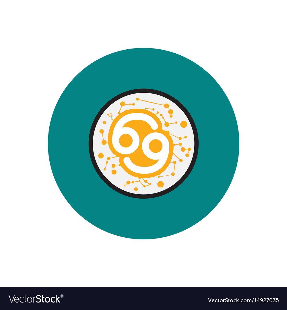 Stylish icon in color circle zodiac sign cancer