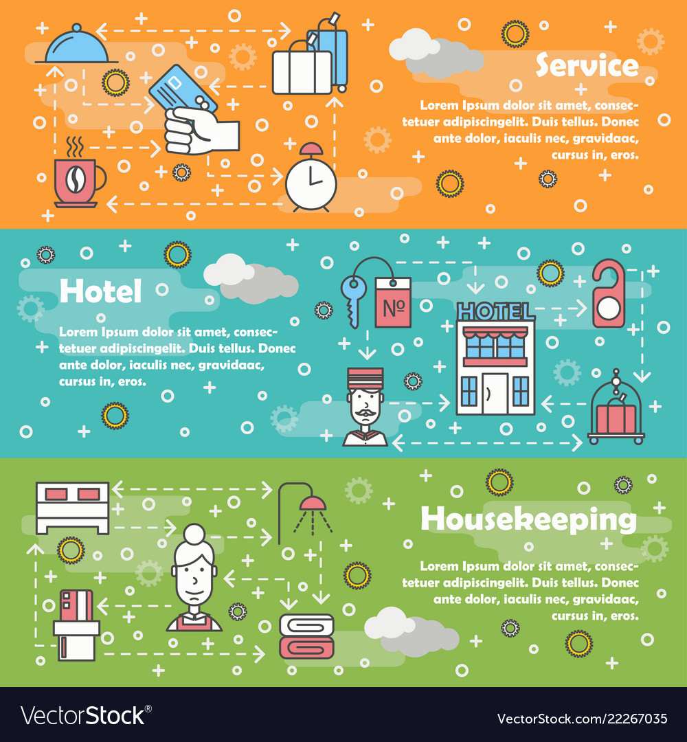 Thin line art hotel web banner template set