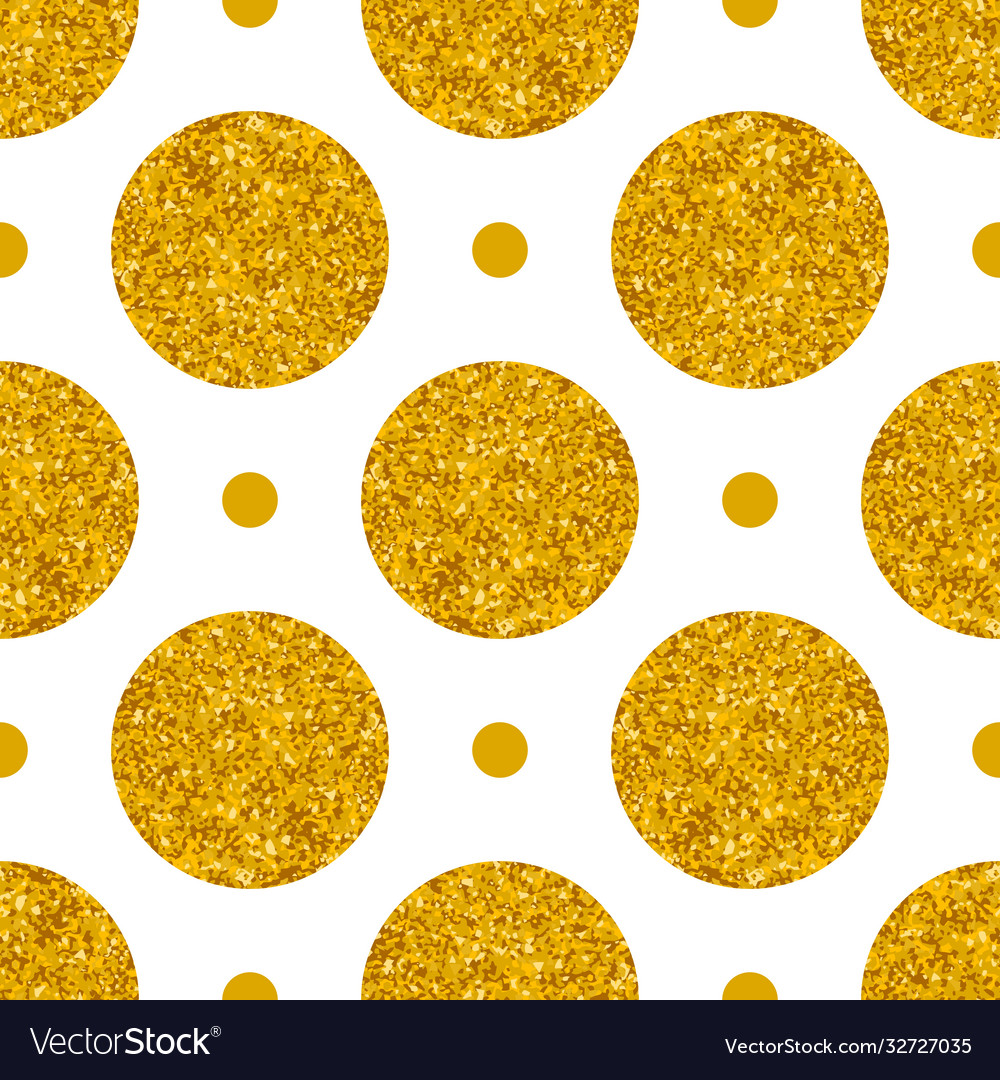 Tile pattern with big golden polka dots on white