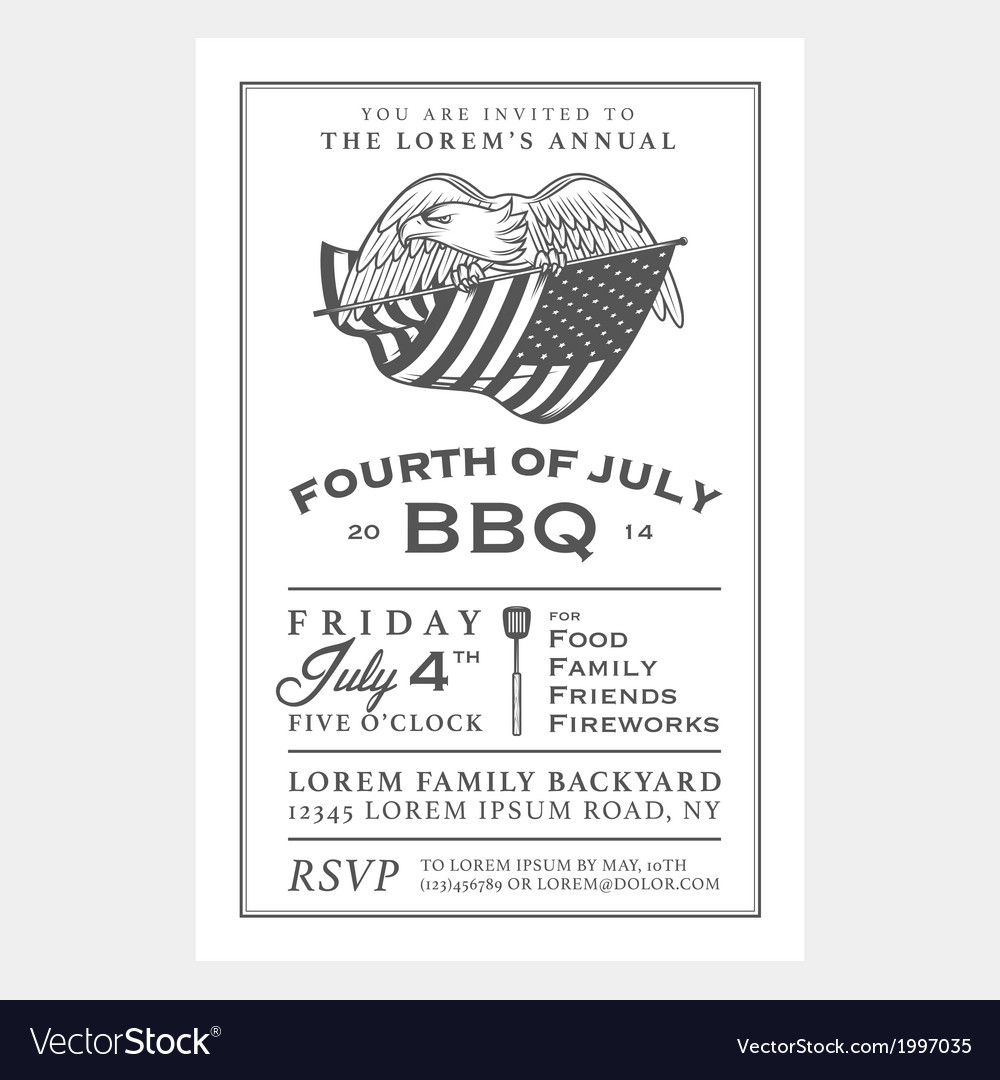 Vintage Independence Day barbecue invitation
