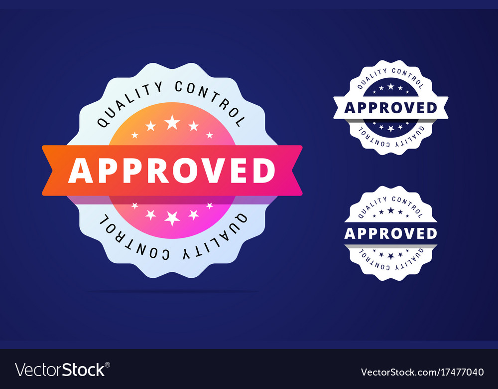 Approved stamp with three color variants vector image