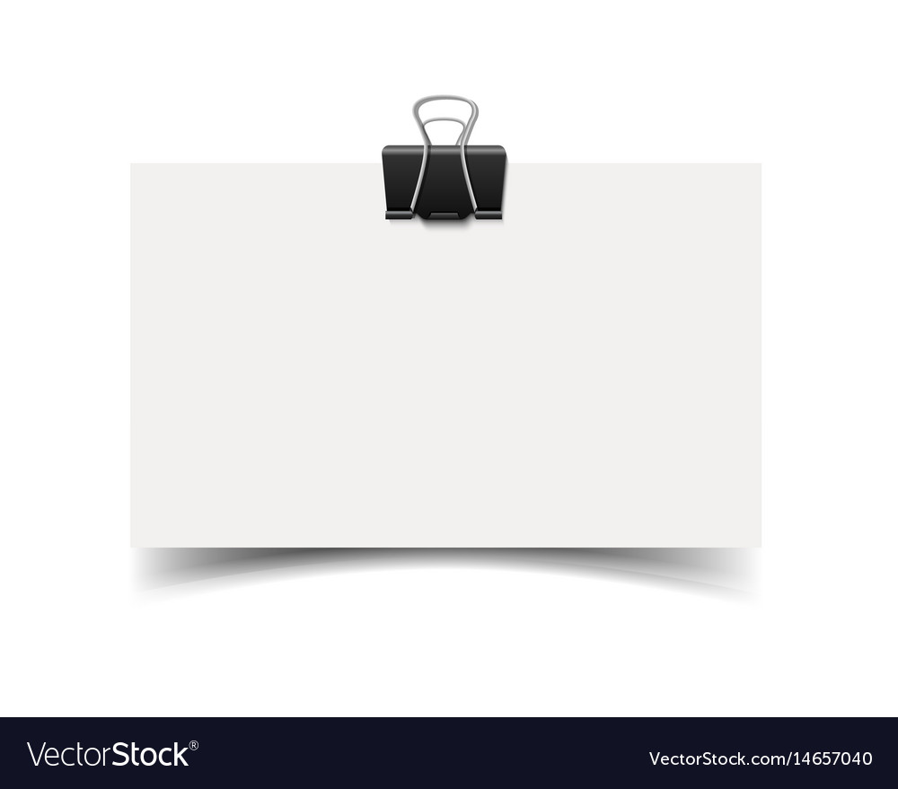 Blank white business card with paper clip