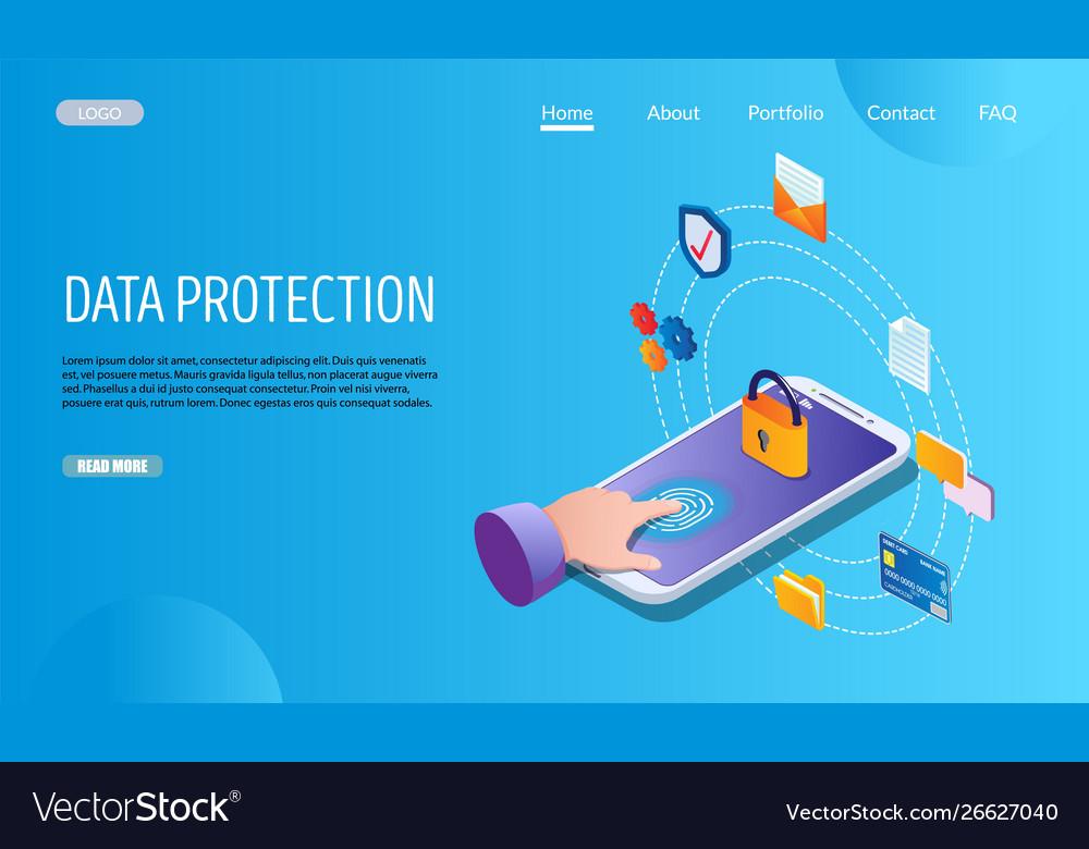 Data protection website landing page design