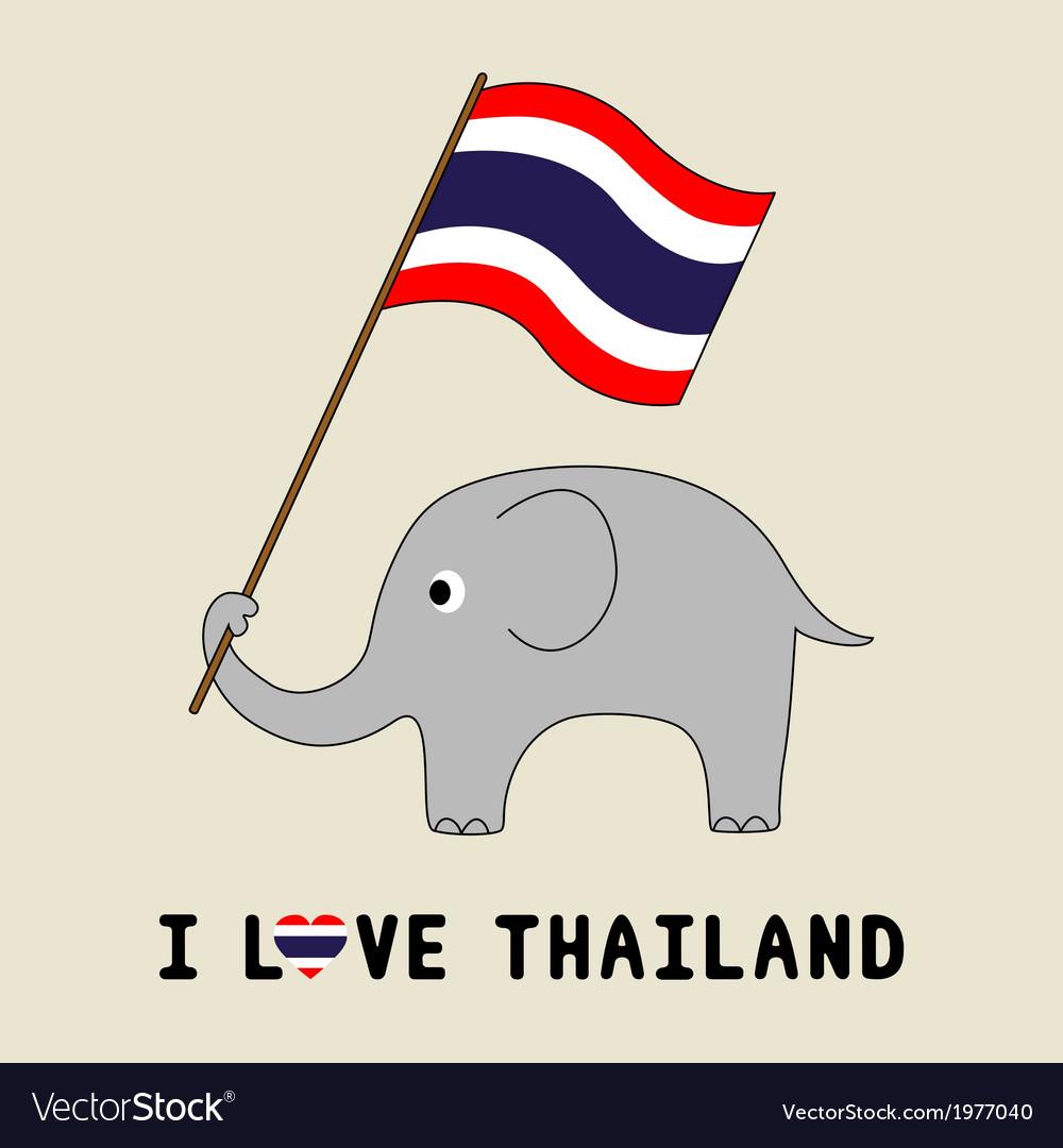 Elephant Hold Thai Flag3 Royalty Free Vector Image