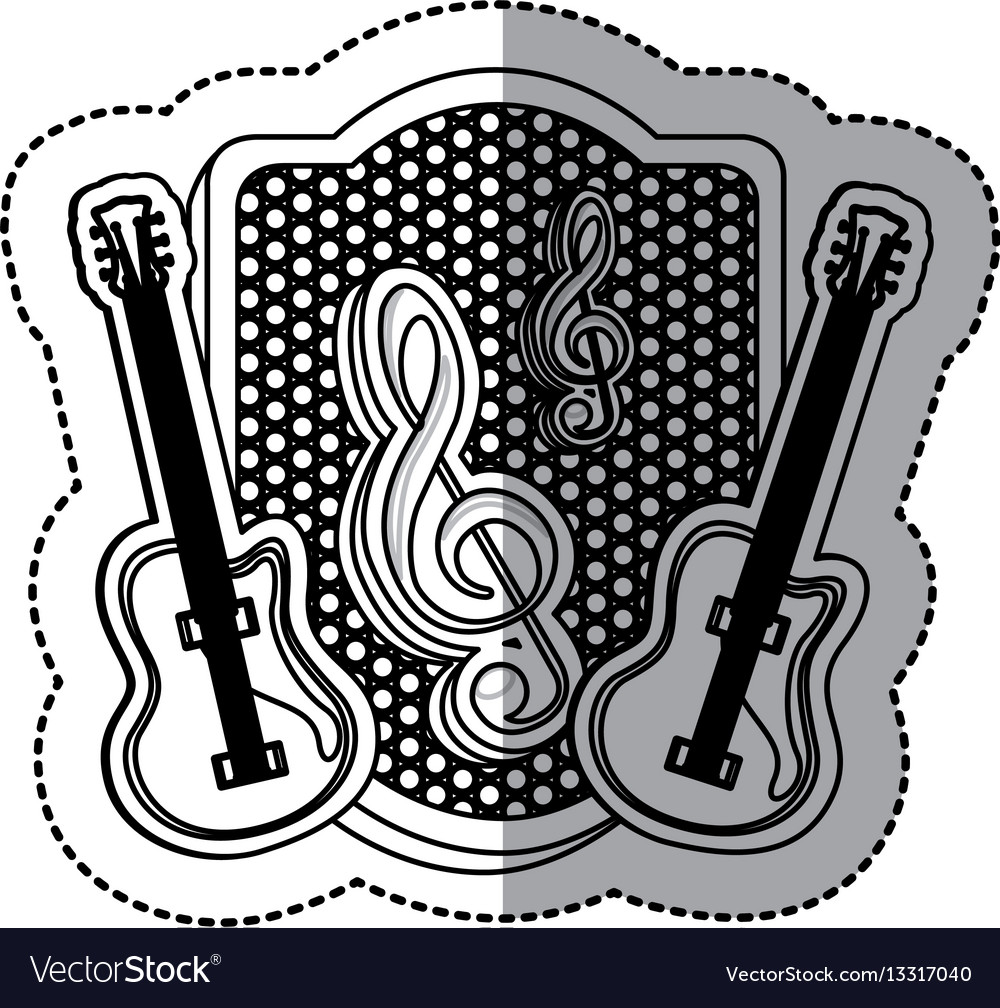 Emblem electric guitar with music symbol icon