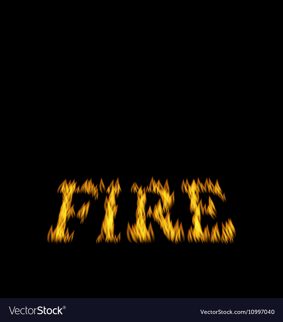 Fire Flame Font Isolated on Black Background vector image