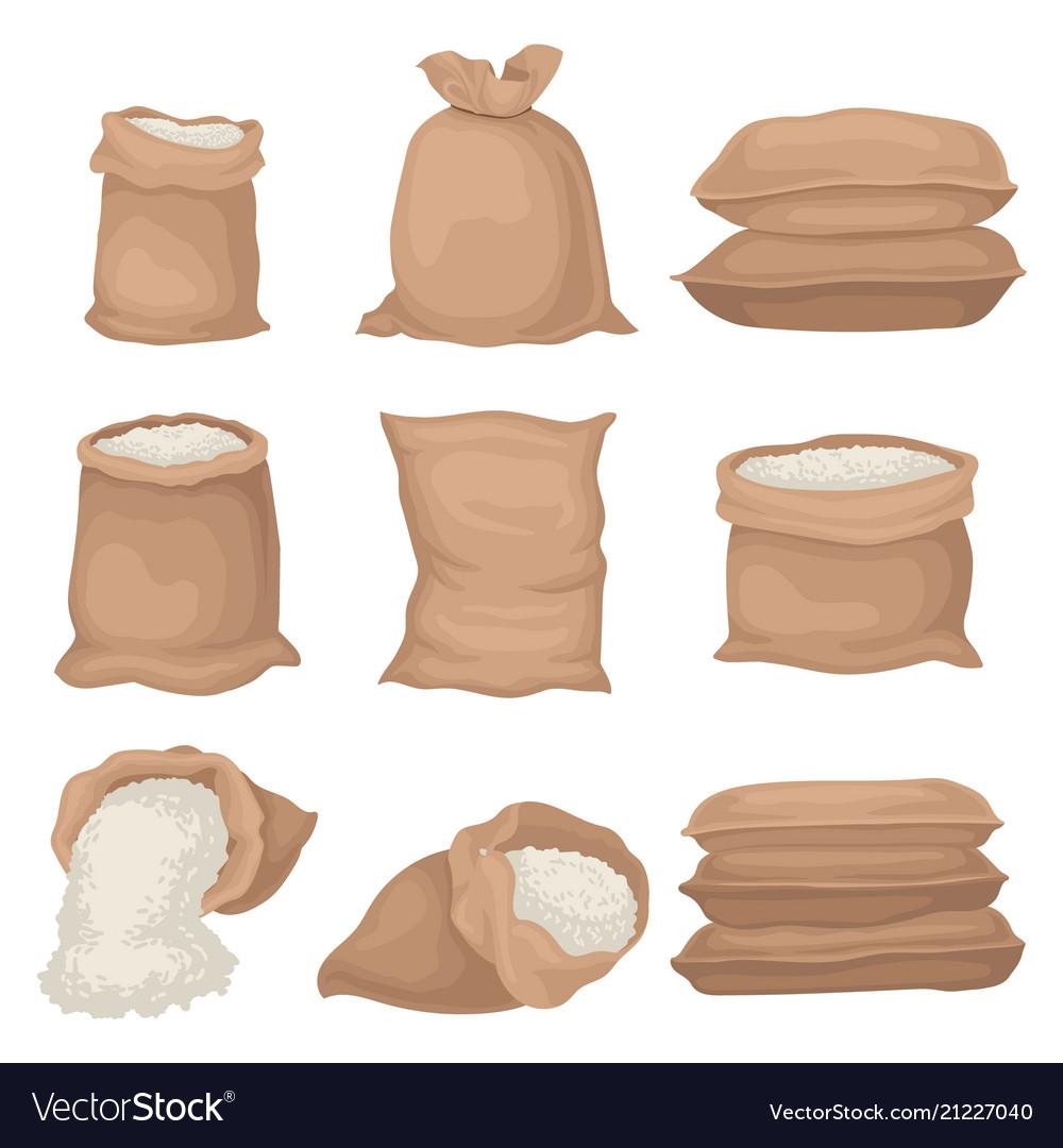 flat set of burlap sacks with rice or flour vector image